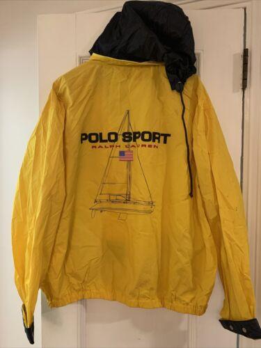 Vintage Yellow Polo Sport Yachting Jacket XL Hood