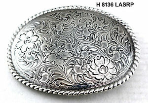 WESTERN COWBOY COWGIRL OVAL ROPE SILVER PLATED RODEO TROPHY BELT BUCKLE BLANK
