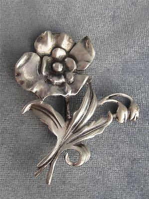 VINTAGE RETRO STERLING SILVER STYLIZED FLOWER PIN  - CIRCA 1940S
