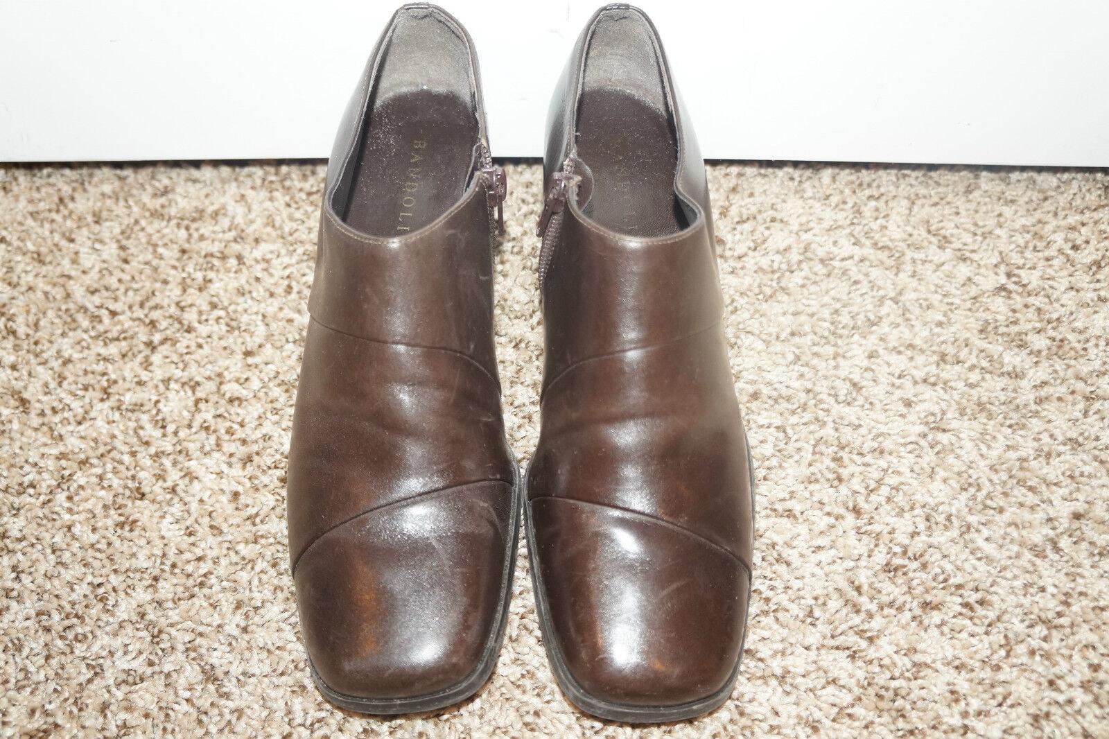 Bandolino Womens Dark Brown Leather Ankle Boots Sz 7.5M 7.5 M LADIES Zip Up