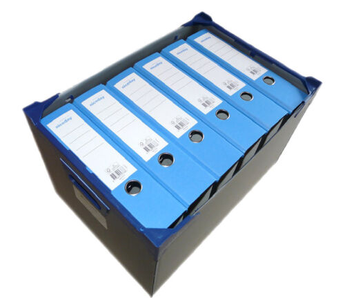 Tough Plastic Archive File Storage Box with Lid and 6 x A4 Lever Arch Files