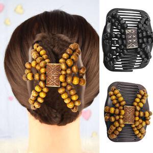 Eg-Femme-en-Bois-Perles-Magique-Barrette-Peigne-Pince-Epingle-a-Cheveux-Style