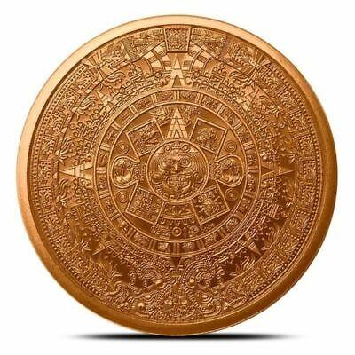 "Coins & Paper Money Bullion ""aztec Mayan Calendar"" 1 Oz .999 Copper Round Matching In Colour"