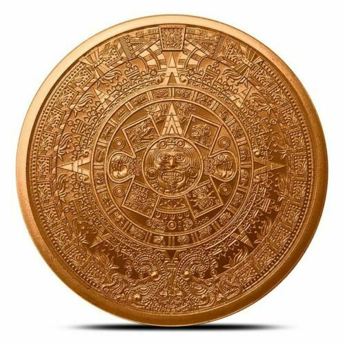 "/""Aztec Mayan Calendar/"" 1 oz .999 Copper Round"