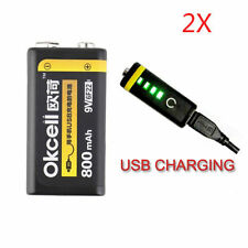 2PCS OKcell 9V 800mAh USB Rechargeable Lipo Battery for RC Helicopter Model Micr