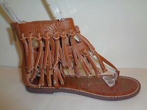 e9feed18c259 Sam Edelman Size 7.5 M GRIFFEN Brown Fringe Leather Sandals New ...