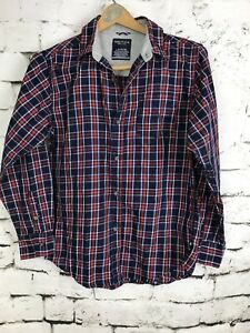 Nautica-Boys-Button-Up-Plaid-Shirt-Long-Sleeve-Red-Blue-White-Cotton-Large-14-16