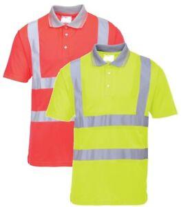 Portwest S477 Giallo Hi-Vis Workwear Manica Corta Polo Taglia XL
