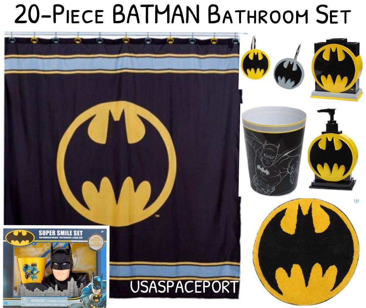 20pc Batman Bain Set Rideau de douche + Crochets + Tapis + Pompe + Brosse à dents titulaire + Corbeille
