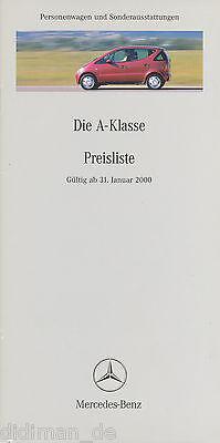 Dynamisch Mercedes A-klasse Preisliste 2000 31.1.00 Price List Prijslijst Liste Des Prix