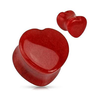 Heart Shaped Red Jade Semi Precious Stone Flesh Ear Plug Tunnel Expander Plugs