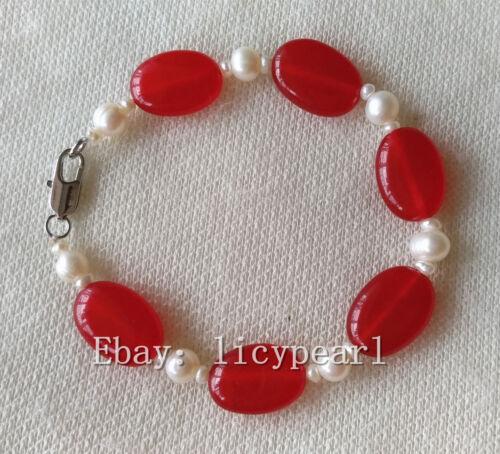 13 *18mm rote Jade /& weiße Perle Armband 7.5-8 zoll Perle Armband Jade Armband