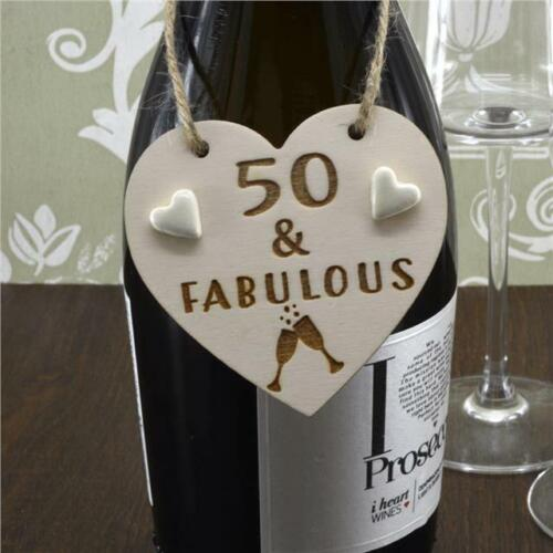"/""50 /& Fabulous/"" Handmade Wine Bottle Charm Gift Tag Birthday Keepsake"