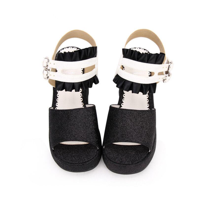 Lolita Gothic Schuhe Sandales Schuhes Cosplay Kostüm Sandalen Sandales Schuhe platform Plateau Neu 11b75a
