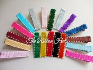 45mm Double Prong Hair Clips- Metal Alligator Clips Lined with Grosgrain Ribbon