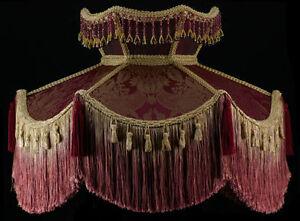 Large floor lamp shade victorian burgundy damask silk fabric fringe image is loading large floor lamp shade victorian burgundy damask silk aloadofball Choice Image