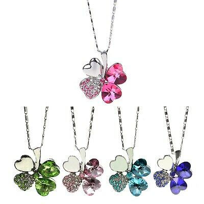 Charming Women Lucky 4 Leaf Clover Designed Crystal Pendant Chain Necklace New