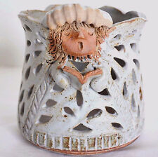 Folk Art Handcrafted Pottery Choir Angel Stars Candle Pencil Holder Trinket Dish