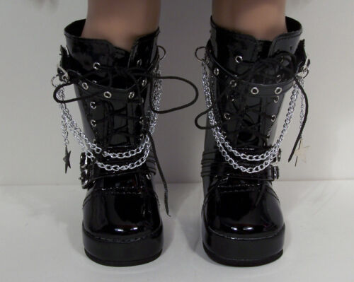 "BLACK Patent Tall Chain Boots Doll Shoes For 18/"" American Girl Debs"