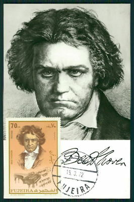 Analytical Fujeira Mk 1972 Musik Beethoven Composer Music Maximumkarte Maxi Card Mc Cm Ar91 Fashionable Patterns Stamps