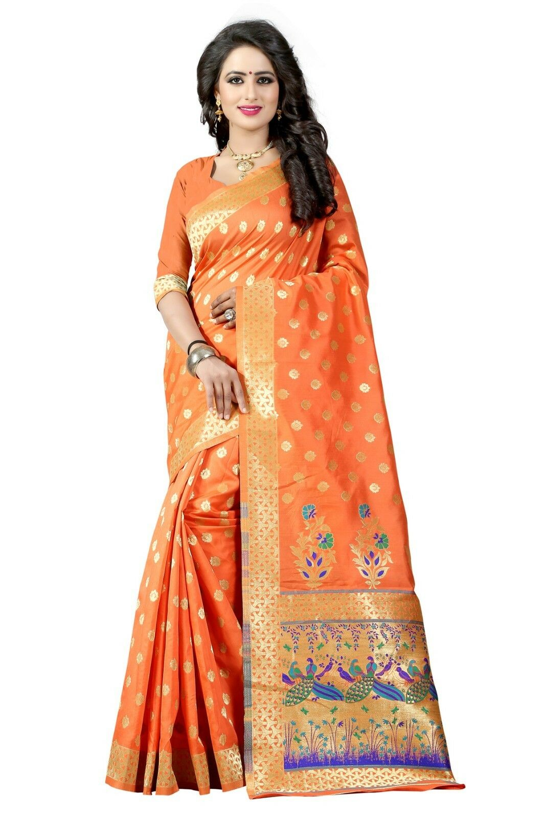 Indian Saree Bollywood Sari Wedding orange Woven Banarasi Art Silk -3036