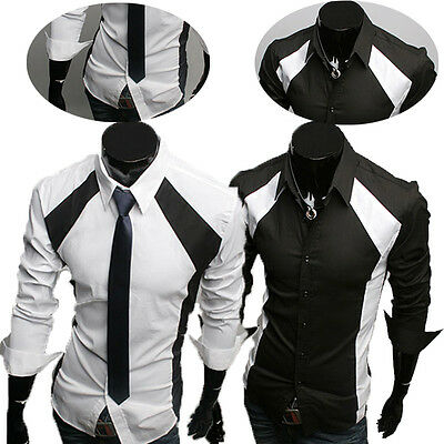 Fashion Mens Luxury Long Sleeve Casual Slim Fit Dress Summer Shirts PLUS SIZE