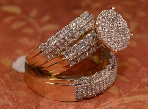 12Ct Round Cut Diamond His Her Trio Wedding Band Set 14K Yellow Gold Finish