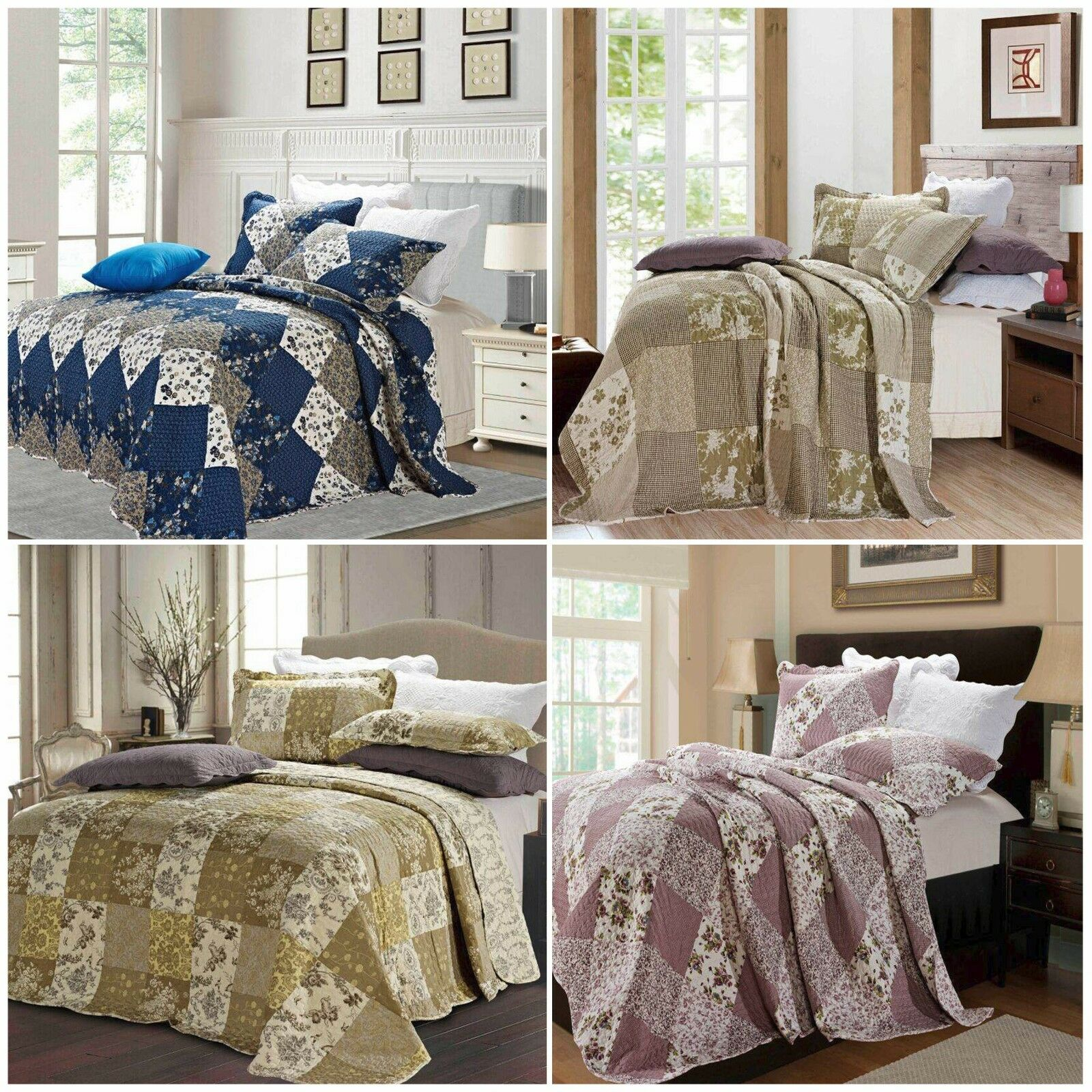Beautiful Floral Vintage Patchwork Quilted Bedspread Throws with 2 Pillow Shams