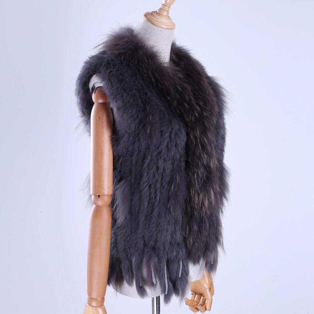 Real Knitted Rabbit Fur Vests Tassel Raccoon Fur Trim Collar Waistcoat Gilet