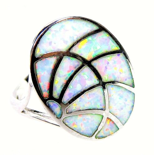 "Silver 925 SF Size 5 Ring White Lab Fire Opal ABSTRACT 7//8/"" x 5//8/"""