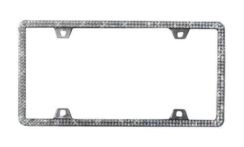 Metal Chrome Double Row Rhinestone License Plate Frame Embedded Universal