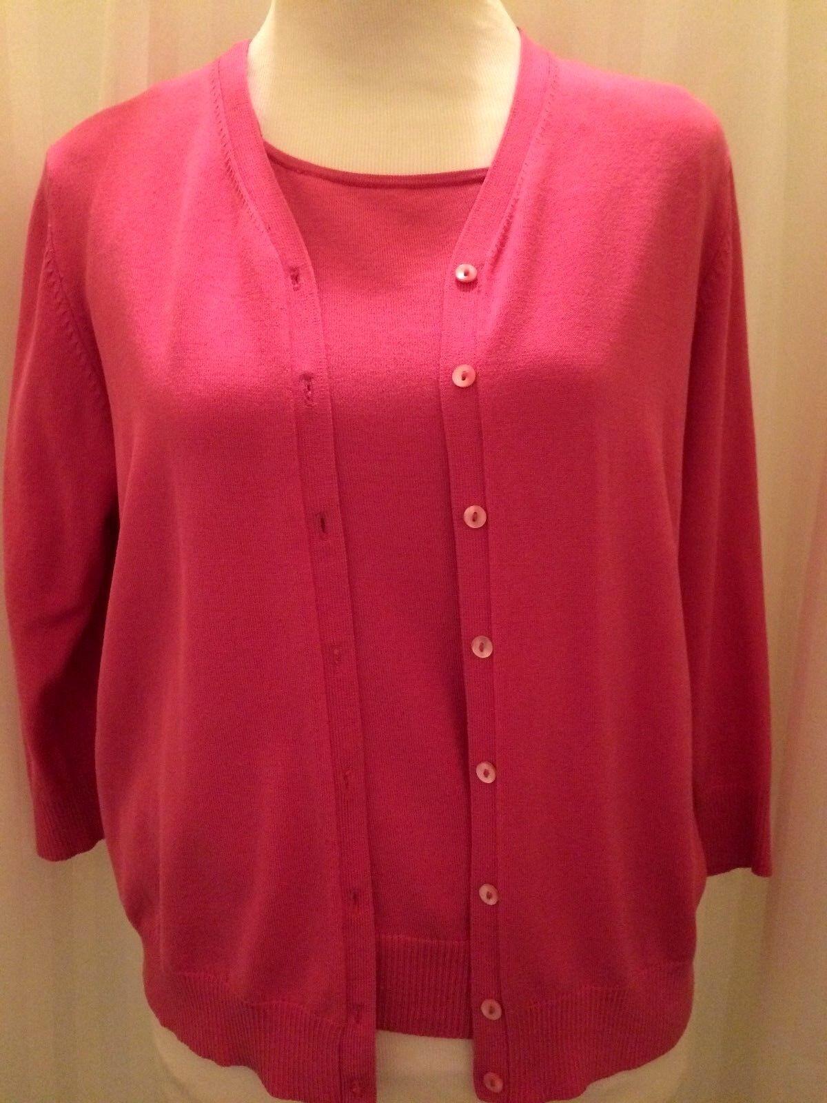 LIZ CLAIBORNE COLLECTION Petite Bright Pink 3 4 Sleeve Sweater Set Womens Sz M