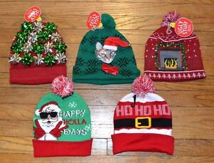 image is loading ugly stuff holiday supply co christmas hats beanie - Ugly Christmas Hats