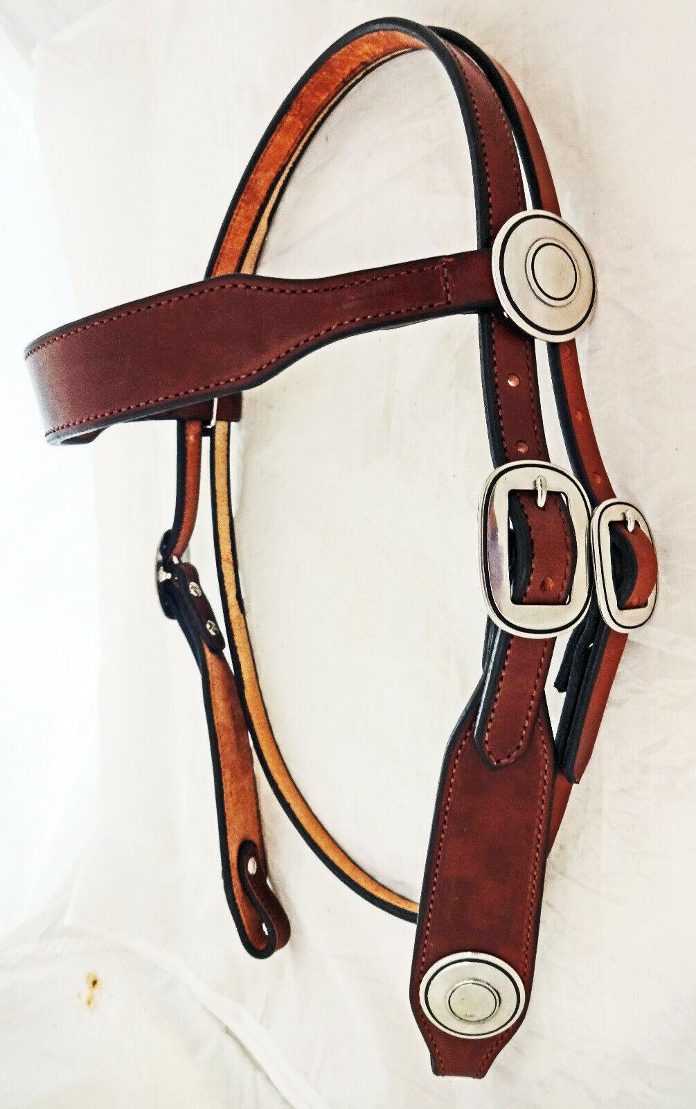 Rich Marronee IN PELLE DI DI DI CABLAGGIO Headsttutti Horse Tack JEREMIAH WATT Fibbie Conchos 39e