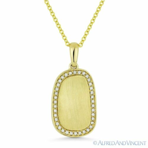0.12ct Diamond BrushedCenterpiece Frame Pendant & Necklace in 14k Yellow Gold