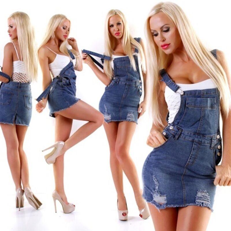 10714 Damen Jeans Rock Latzrock Jeansrock Minirock Trägern Destroyed Streetwear