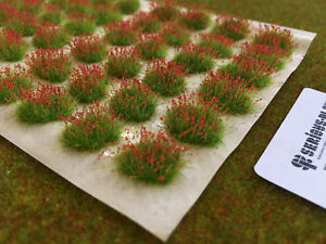 Small-Red-039-Flower-Patches-039-Miniature-Scenery-Grass-Tufts-Railways-Dolls-House