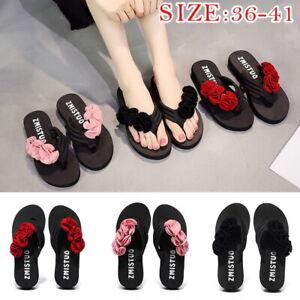 Summer-Women-Flower-Beach-Shoes-Flip-Flops-Platform-Sandals-Wedge-Heel-Slippers