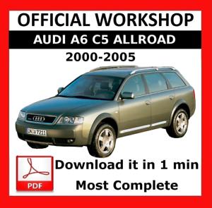 official workshop manual service repair audi a6 c5 allroad 2000 rh ebay com 2004 Audi A6 Warning Symbols 2004 Audi A6 Key