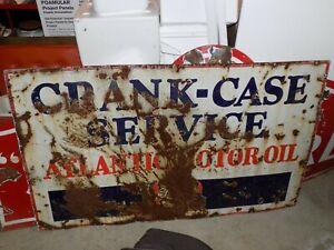 Vintage Atlantic Motor Oil Crank-Case Service Porcelain Sign