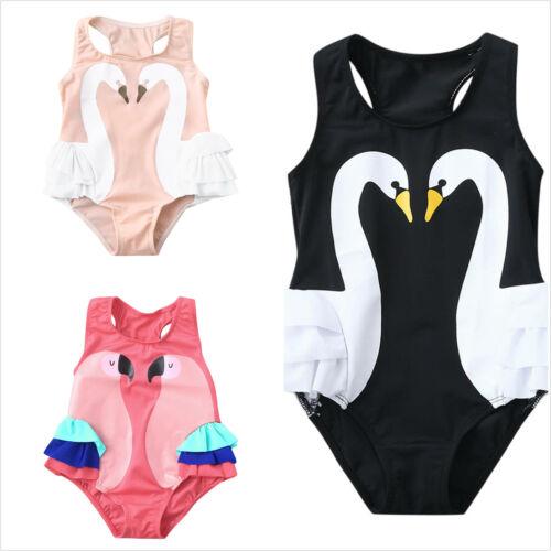 12M-4Y Toddler Baby Kid Girl Ruffles Swan Swimwear Swimsuit Beach Romper Clothes
