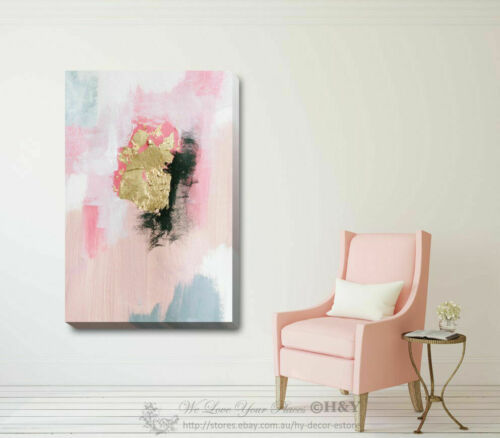 Gold Pink Stretched Canvas Print Framed Wall Art Home Office Shop Decor Gift DIY