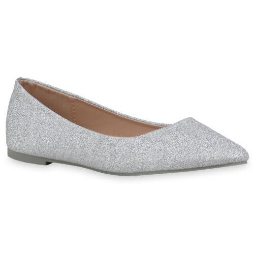 Damen Klassische Ballerinas Glitzer Slipper Elegante Slip Ons 898811 Top
