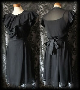 Gothic-Black-Sheer-Frilled-SOLITUDE-Buttoned-Tea-Dress-6-8-Victorian-Vintage