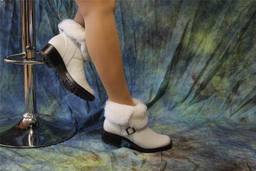 Werner-trendige Rind-Nappaleder-Boots mit Lammfell