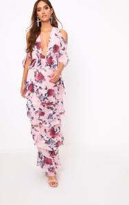 PrettyLittleThing Pink Floral Cold Shoulder Maxi Dress Size DH088 KK 02