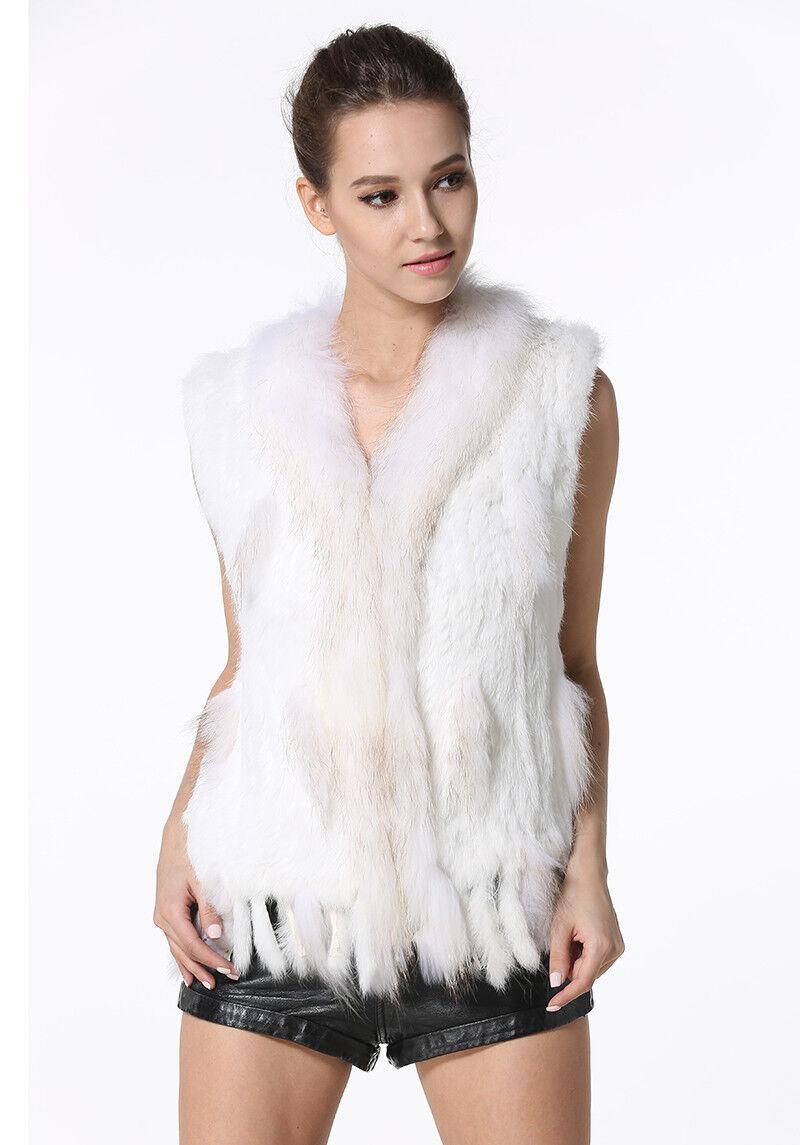 Women Knit Rabbit Fur Fur Fur Vests Real Fur Waistcoat Casual Raccoon Fur Collar Gilets 5cb07f