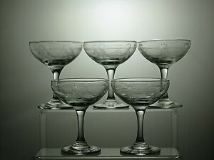 Lead-Crystal-Cut-Footed-Dessert-Bowls-Ice-Cream-Dish-Champagne-Tall-Sherbet
