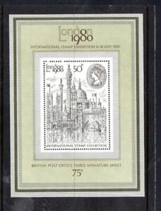1980-GB-LONDON-EXHIBITION-Miniature-Sheet-Black-Mount-Card-on-Reverse-MNH-MS1119