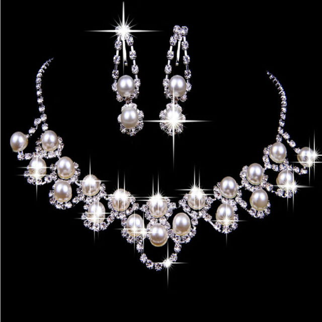 Women Wedding Bridal Jewelry Crystal Pearl Necklace Earring Plated Jewelry Set